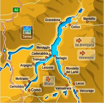 Mapa del Lago di Como en Lombardia