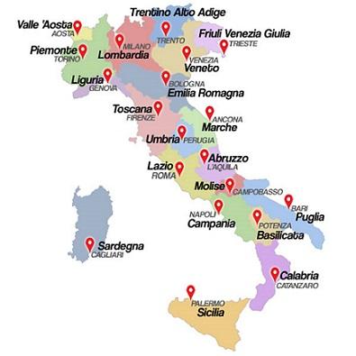 Mapa De Italia Ciudades.Ciudades Italianas Provincias De Italia Pueblos De Italia
