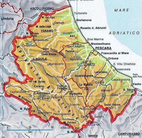 Map of Abruzzo in Italia