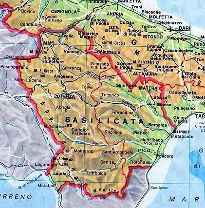 Map of Basilicata in Italia