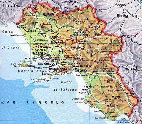 Mapa de Calabria en Italia