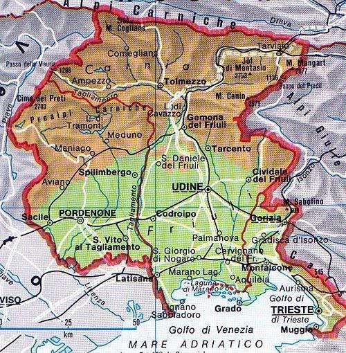Map of Friuli Venecia Giulia in Italia
