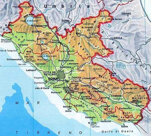 Map of Lazio in Italia