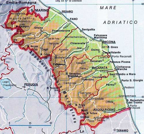 Map of Le Marche in Italia