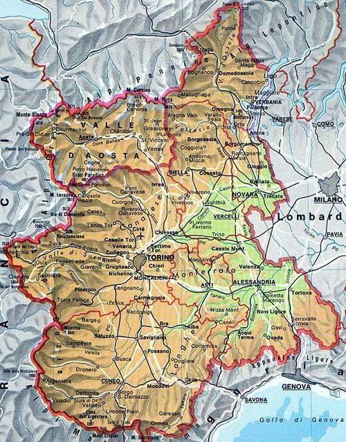 Mapa de Piamonte en Italia