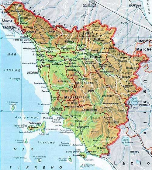 Map of Toscana in Italia