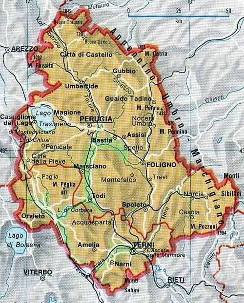 Map of Umbria in Italia