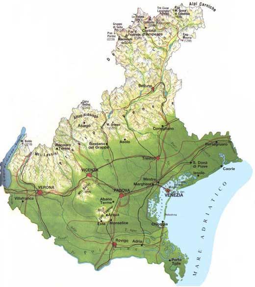 Map of Veneto in Italia
